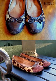 Tutorial for re-glamming worn out leather shoes with just some glue and glitter