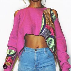 Custom made Ankara print crop sweatshirt with cut of shoulders. You choose your color and print African Inspired Fashion, African Print Fashion, Africa Fashion, African Fashion Dresses, Tribal Fashion Outfits, Womens Fashion, Afro Punk Fashion, African Design, African Wear