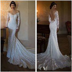 2015 New Sheath Long-sleeve Sexy Backless Wedding dress Bridal gown Custom size