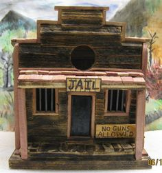 Old Western Style Jail Birdhouse ON SALE WAS by AllensWoodWorknArt