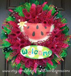 Watermelon Summer Mesh Wreath. https://www.etsy.com/listing/152884290/watermelon-summer-mesh-wreath