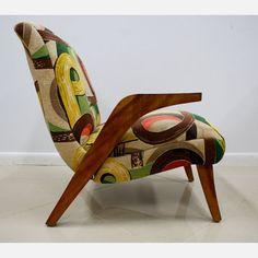 50s Barkcloth Lounge Chair