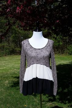 Color blocked Black Ivory Ruffle Tunic Sweater