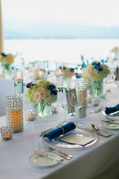 Elegant Kauai Wedding Reception in Silver and Blue | Clane Gessel Photography on @myhotelwedding via @aislesociety