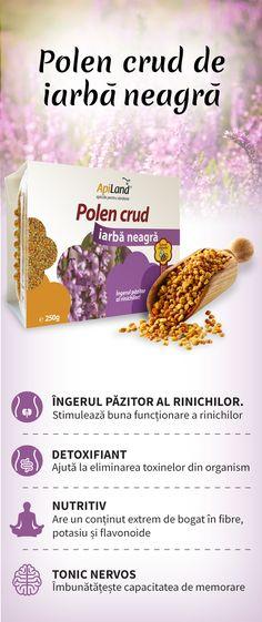 Polenul crud de iarbă neagră are un conținut bogat de flavonoide (cea mai prezentă fiind rutina), fibre și potasiu. Acesta este îngerul păzitor al rinichilor.      Stimulează buna funcționare a rinichilor     Ajută la detoxifierea organismului     Îmbunătățește capacitatea de memorare     Ajută la tratarea hemoroizilor și varicelor     Acționează benefic asupra tiroidei Varicose Veins, Food, Poland