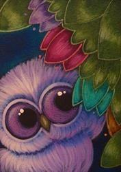 Art: SPRING TINY VIOLET OWL...IN MY GARDEN by Artist Cyra R. Cancel