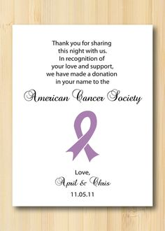 Charity Donation Favor Card for Your Wedding or Event Simple Ribbon Design on Etsy, $0.95