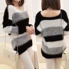 Nwt 2014 moda feminina listrada bordado Crochet Sweater Casual Plus Size Tops malha Jumper para maternidade bonito blusas