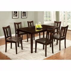 details about dining table set 7 piece 6 padded seat chair wood rh pinterest com