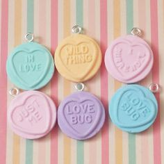 6 Love Heart Charms - handmade from fimo polymer clay.