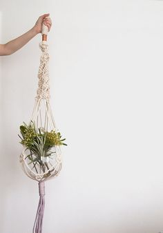 Lavender macrame plant hanger dyed plant hanger by ScoutGathers