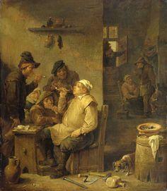 David Teniers (II)   Bricklayer smoking a pipe, David Teniers (II), 1630 - 1660   De rokende metselaar. In een herberg heeft een groepje boeren zich verzameld rond een zittende metselaar die een pijp rookt. Een hond snuffelt aan zijn gereedschap dat op de grond ligt, op de achtergrond enkele figuren rond een haard.