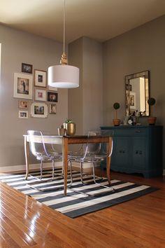 West Elm turned pendant | West Elm antique tile wall mirror | Ikea tobias chair | gallery wall #westelm #ikea