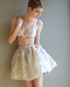 Sophie Hines sheer pink and cream mesh bralette