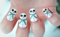 Snowmen Nail Art - To suit the weather ;/