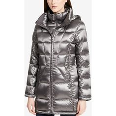 Calvin Klein Hooded Packable Down Puffer Coat ($88) ❤ liked on Polyvore featuring outerwear, coats, shine granite, hooded puffer coats, puffy coat, hooded coat, calvin klein coats and shiny puffer coat