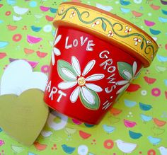 Painted Terracotta Pot 4 Inch Love Grows by ThePaintedPine on Etsy.