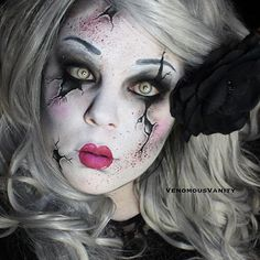 Face painting examples are very useful in the art of face painting. One of the greatest things about face painting examples, is that there are many reference Broken Doll Halloween, Broken Doll Costume, Creepy Doll Costume, Costume Makeup, Scary Dolls, Fete Halloween, Halloween Looks, Halloween Face Makeup, Creepy Doll Makeup