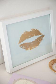 Fashion Art faux glitter Designer lipstick print office bedroom print only