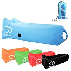 Inflatable Lounger Couch Sofa with Carry Bag GoHiQ  W Bottle Opener Perfect For Travel Camping Concerts The Beach or Pool Blue >>> Read more reviews of the product by visiting the link on the image. (This is an affiliate link) #TravelSleppingBagsandCampBedding