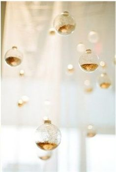 Filled with Gold Glitter,  Clear Ornaments for Wedding or Event - Ceremony Decor / Backdrop Idea / Altar Inspiration