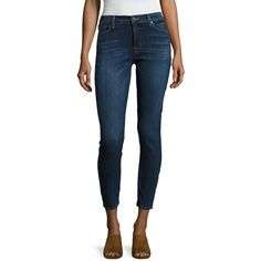 Hudson Jeans Women's Denim Whiskered Skinny Jean - Blue, Size 24 ($99) ❤ liked on Polyvore featuring jeans, blue, ripped blue jeans, high-waisted jeans, destroyed skinny jeans, high-waisted skinny jeans and skinny jeans
