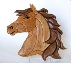 Horse Intarsia Wall hanging by EntwoodCrafts on Etsy, $75.00
