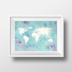 Digital download - world map 8x10 watercolor print wall art