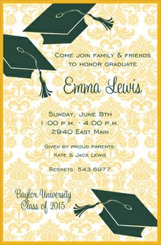 Green and Gold Graduation Flair Invitations