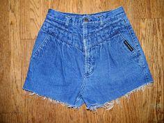 Vintage Denim Cut Offs - Vintage 80s/90s Blue Jean Shorts - High Waisted Cut Off/Frayed/Gathered Short Shorts - 10 Dollar Sale. $10.00, via Etsy.