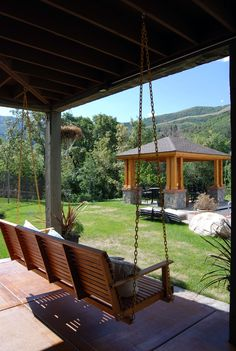 Add Additional Accents & Eye-Catching Touches with a Swing to a Timber Frame Porch Pavilion.