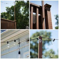 An easy tutorial to show you how to hang outdoor string lights on a deck Learn how to hang string lights on a deck with this easy step-by-step tutorial. It's a simple task that takes about 30 minutes with only a few materials needed! Outdoor Deck Lighting, Outdoor Hanging Lights, Pergola Lighting, House Lighting, String Lights Deck, How To Hang Patio Lights, Club Lighting, Outdoor Decor, String Lighting