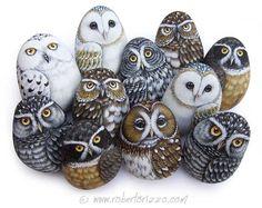 Roberto Rizzo owls painted on rocks