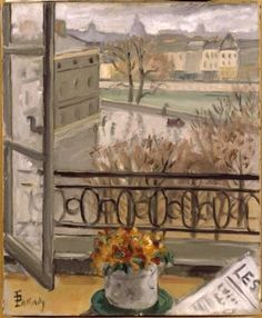 Theodor Pallady - French Flowers in The Window Place Dauphine Window View, Open Window, Window Art, French Flowers, Red Flowers, Looking Out The Window, Through The Window, Painting Lessons, French Artists