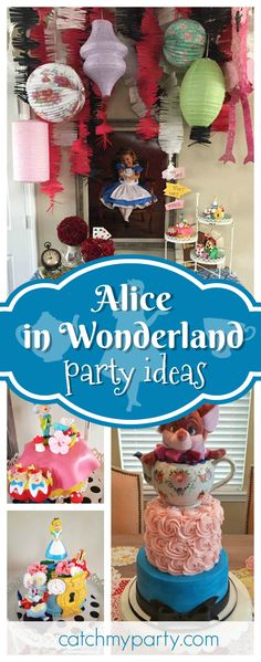 Don't miss this gorgeous Alice in Wonderland birthday party. The cakes are so beautiful!! See more party ideas and share yours at CatchMyParty.com