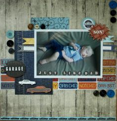 'Just Like Dad' by Hilde Janbroers-Stolk Scrapbook Blog, Scrapbooking Layouts, Scrapbook Pages, Bricks, Cement, Card Making, Garage, Paper Crafts, Guys