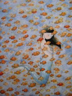Illustration by Quentin Gréban Mermaid Fairy, Mermaids And Mermen, Merfolk, Fish Art, Children's Book Illustration, Sea Creatures, The Little Mermaid, Fairy Tales, Artwork