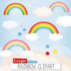"""Rainbow clipart: """"RAINBOW CLIPART"""" - double rainbow, cloud clip art, sky, rainbow images, happy clouds, stars, scrapbooking, greeting cards #etsy #scrapbooking"""