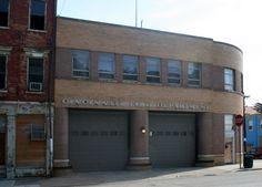 Front facade. Engine Co. No. 5. by Garriott and Becker, Modernist style, Cincinnati, Ohio.