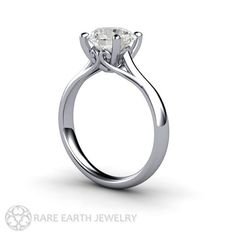 2ct Solitaire Engagement Ring White Sapphire Ring by RareEarth   - i love the detail seen from the side/underneath