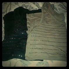 "NY&C tank tops Xlarge These are really cute studded tanks from NY&C. The charcoal has silver studs & the taupe has bronze studs.  60% cotton, 40% modal. Excellent condition. I just don't wear them. Measurements are 36"" around bust & 19"" long unstretched. 2nd & 3rd pics are truest colors. New York & Company Tops Tank Tops"