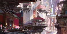 The beautiful fantasy and sci-fi themed creations of Muyang Xu, a freelance concept designer, digital illustrator, and environment artist based in China. Landscape Concept, Fantasy Landscape, Fantasy City, Fantasy World, Fantasy Places, Environment Concept Art, Environment Design, Matte Painting, Watercolor Paintings