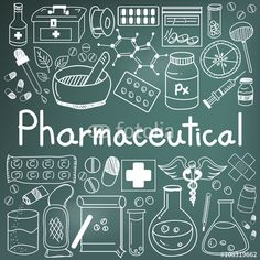 Vector: pharmaceutical and pharmacist doodle handwriting icons of medicines tools sign and symbol in blackboard background for health presentation or subject title, create by vector