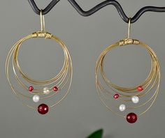 Brass multiple circle earrigs with white, garnet pearls and garnet jade, stylish brass drop earrings with garnet pearls, gift idea by NataliaNorenasilver on Etsy