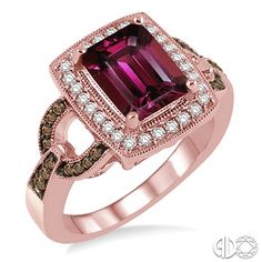 9x7 MM Emerald Cut Rhodolite Garnet and 1/2 Ctw Round Cut white and Champagne Brown Diamond Ring in 14K Pink Gold