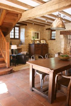 live edge table, limestone walls