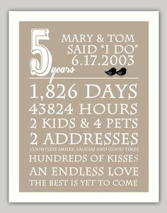 Anniversary print customize years and phrases by perkypaper