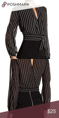Ark & Co striped cropped Blouse Ark & Co striped cropped Blouse - long sleeve with slits down sides of sleeves Ark & Co Tops Blouses
