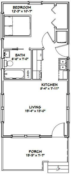 12x28 1 Bedroom House -- #12X28H1C -- 336 sq ft - Excellent Floor ...