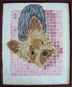 Custom Made Pet Portrait in Stained Glass Mosaics - Made by Linda Billet